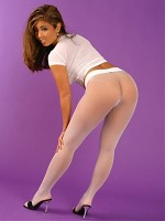 Akira shows of her legs in white seamless pantyhose