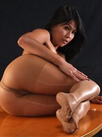 Hot asian pornstar Max Mikita posing in her pantyhose